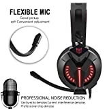 Gaming Headset, PC Gaming Headsets with Microphone and Volume Control Functions for PS4/ XBOX One/PC Computer/Laptop/Mac/Mobil/iPhone/iPad (M180 Red Black ) (Color: Black & Red)