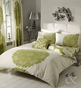 FLORAL & STRIPED Poly Cotton Duvet Cover Bed Quilt Cover Bedding Set Green ( lime cream moss pistachio ) King size Duvet Cover ( kingsize shabby chic )
