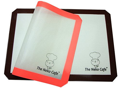 Non Stick Silicone Baking Mat Set (TNC-No BPA) Cookie Sheet Size 16 ½ X 11 5/8″, 2 Pack, Neko Cafe