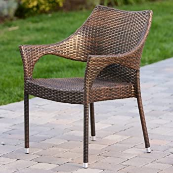 Del Mar Outdoor Brown Wicker Stacking Chairs (Set of 2)