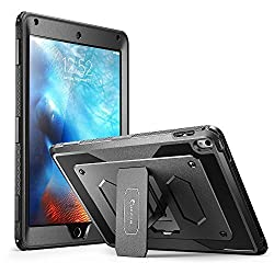 iPad Pro 9.7 inch Case, [Heavy Duty] i-Blason Apple iPad Pro 9.7 2016 Armorbox [Dual Layer] Hybrid Full-body Protective Kickstand Case with Front Cover and Built-in Screen Protector (Black)