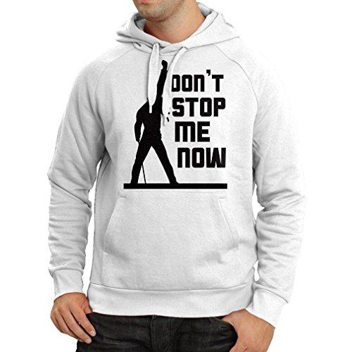 N4382H Felpa con cappuccio Don't stop me now! (Medium Bianco Multicolore)