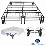 Platform Metal Bed Frame/Foundation Set(SmartBase + Metal Brackets for Headboard & Footboard + Bed Skirt - Full) -