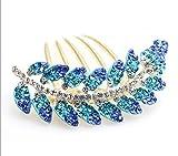 Ecloud Shop® Nueva aleación de la manera encantadora azul Hojas chapado en oro Clip Crystal C