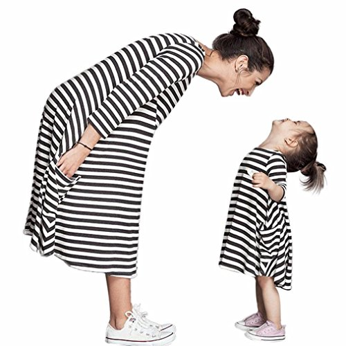 XILALU mother and baby girl clothing set Black White Striped Dress Casual Family Clothes Dress (One size, Mother)