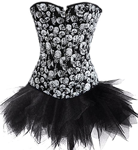 Sexy-Punk-Skull-Burlesque-Crossbone-Overbust-Gothic-Corset-with-Tutu-Skirt-Halloween-Dress-Set