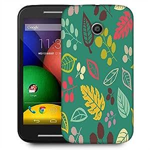 Snoogg Colorful Leaves Blue Designer Protective Phone Back Case Cover For Motorola E2 / MOTO E22