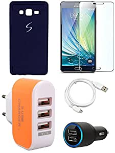 NIROSHA Tempered Glass Screen Guard Cover Case Car Charger USB Cable Charger for Samsung Galaxy ON7 - Combo