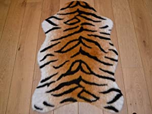 Bengal Tiger Animal Faux Fur Rug. Available in 4 Sizes (70cm x 100cm (Pelt)) by Rugs Supermarket