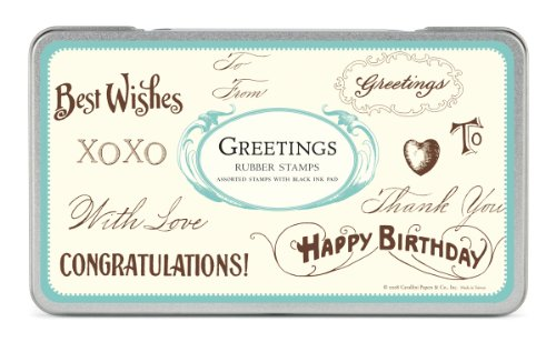Cavallini & Co. Greetings Designed Stamps Set Includes Wooden Rubber Stamps - Assorted/ Ink Pad - Black