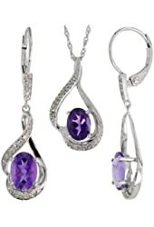 14k White Gold Dangle Earrings (19mm tall) & 18 in. Pendant-Necklace Set, w/ 0.20 Carat Brilliant Cut Diamonds & 3.64 Carats Oval Cut (7x5mm) Amethyst Stones