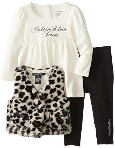 Calvin Klein Baby-Girls Infant Animal Print Vest With Top And Black Pants, Multi, 18 Months