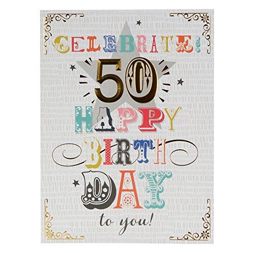 Hallmark - Tarjeta de felicitación de 50 cumpleaños (tamaño grande, papel de aluminio dorado)