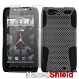 Motorola Droid RAZR XT912 Gray/Black Dual Shield Tough Case + Naked Shield Screen Protector