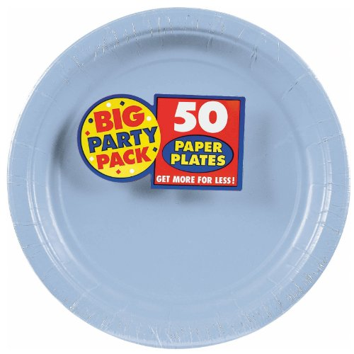 Amscan Big Party Pack 50 Count Paper Dessert Plates, 7-Inch, Pastel Blue
