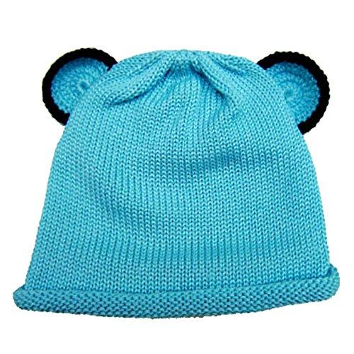 Cute Baby Beanie Hat 0-6m Soft Luxurious Cotton Knit - Blue Bear Ear Hat