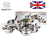 12pc Stainless metallic Cookware Set Kitchenware 1 Saucepan (16x9.5cm) 4 Casserole (16x9.5cm, 18x10.5cm, 20x11.5cm, 24x13.5cm) and 1 Frypan (24x6.5cm)