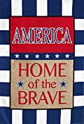 Burlap American Home of the Brave Garden Flag Patriotic Double Sided 12.5