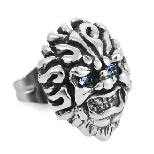 Justeel Men Stainless Steel Stud Earrings Unisex Silver Devil Tiger Lion Blue Cubic Zirconia , (Width x Length: 0.39 x 0.41 inches)