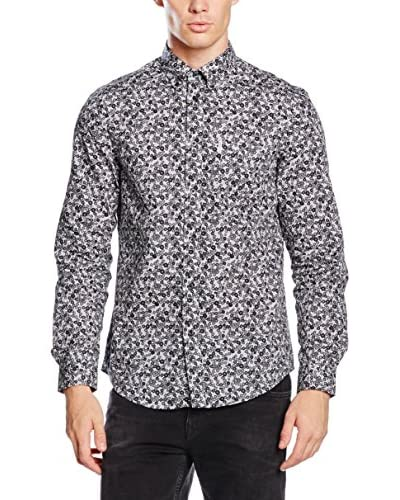 Ben Sherman Hemd Ls Digital Button Print schwarz