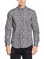 Ben Sherman Camisa Hombre Ls Digital Button Print (Negro)
