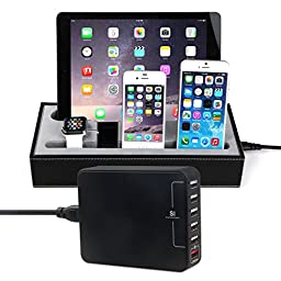 [4 in 1] Apple Watch Stand & Iphone iPad Charging Station + 33W 6 Ports USB Smart Charger,Konsait Black Leatherette Apple Watch Charging Cradle Holder