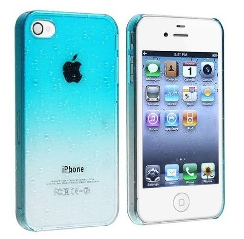 Vandot Clear Waterdrop Raindrop Gradient Protective Hard Case Cover Skin For Apple Iphone 4 4S- Sky Blue