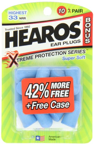 Hearos Xtreme Protection Series Ear Plugs, 10-Pair With Free Case (Pack Of 3)