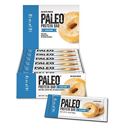 Paleo-Protein-Bar-Glazed-Donut-12-Bars-20g-Egg-White-Protein-5-Net-Carbs-Organic-Prebiotics-Probiotics