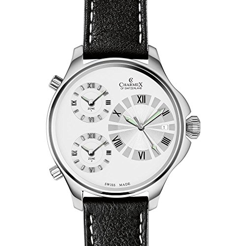 Charmex Cosmopolitan II 2595 48mm Stainless Steel Case Black Calfskin Synthetic Sapphire Men's Watch