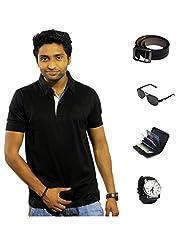 Garushi Black T-Shirt With Watch Belt Sunglasses Cardholder - B00YMLM100
