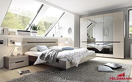 Schlafzimmer komplett 4-teilig 54900 sonoma eiche dunkel / sand grau Hochglanz Neu
