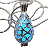Wishing Teardrop Fairy Magical Fairy Glow in the Dark Necklace-blue-sil