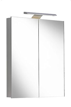 Spiegelschrank Aluminium 2000 Alu mit LED 61,5x70cm