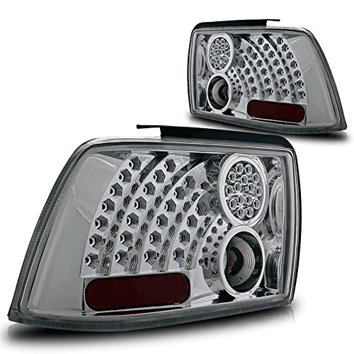 Premium 2Pc Tail Lights Fit 99-04 Ford Mustang Led Tail Lights - Chrome Reflector / Clear Lens - Light Bulb Type Led. (1 Pair Includes Both Driver & Passenger Sides.)