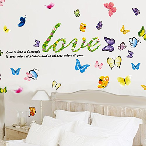 Green-Decals© Flower & Butterflies Home Decor large Wall Stickers & Murals Wall Decals Wallpaper and Removable Wall Décor Decorative Painting Supplies & Wall Treatments Luminous Stickers for Kids Living Room bedroom wallpops decal