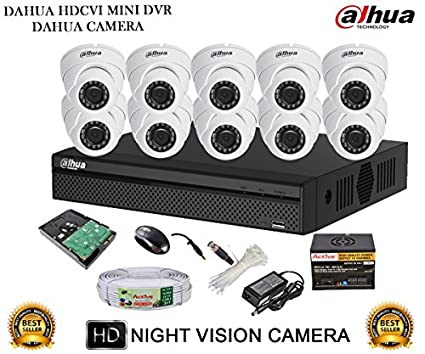 Dahua-DH-HCVR4116HS-S2-16CH-Dvr,-10(DH-HAC-HDW1000RP-360B)-Dome-Camera-(With-Accessories,2TB-HDD)
