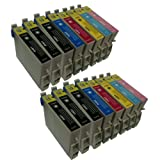 T 487 Multipack 2 x 6 sets + 4 extra blacks of High Capacity Compatible Ink Cartridges for Epson Sylus RX600 - Also compatible for Epson Stylus Photo R200 R220 R300 R300M R320 R325 R340 R350 RX500 RX600 RX620 RX640 Printers - Latest Version Double Capaci