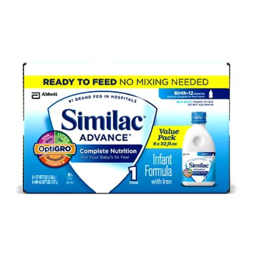 Abbott Similac Advance Complete Nutrition Infant Formula with Iron, Ready to Feed, 8 Count - 1