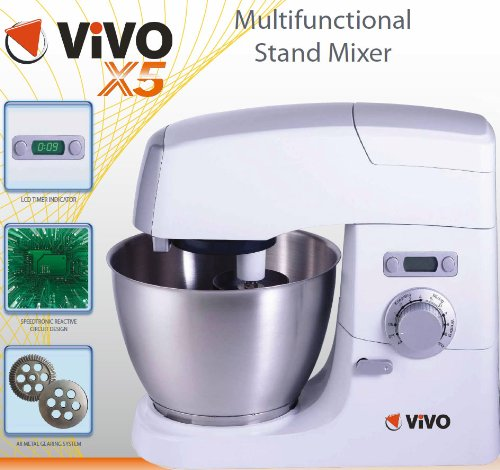 Vivo X5 Die Cast Professional Series 1000W Electric Pro Food Stand Mixer & Blender Machine with Splash Guard / 5.5 litre Bowl / Dough Hook / Mixer Blade / Egg Whisk - Pure White - 30 Day 100% Money Back Guarantee if not completely satisfied by Vivo