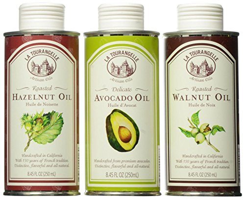 La Tourangelle Best Sellers Trio - Perfect gift set for home chef's - Delicious artisanal handcrafted oils, non-gmo, all-natural, kosher, made in California - Walnut, Hazelnut, avocado oils - 25 Fluid Ounce