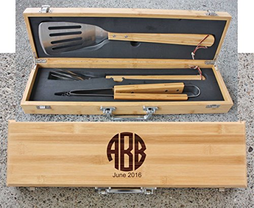 Engraved Monogram Fathers Day Grill Set in Bamboo Case - BBQ02 -07