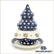 ポーリッシュポタリー/クリスマスツリーのキャンドルスタンド(ボレスワヴィエツ陶器)