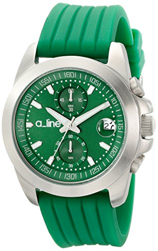 a_line Women's 80010-08-GN Aroha Chronograph Green Dial Green Silicone Watch