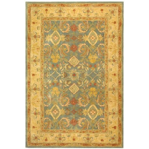 Safavieh Anatolia Collection Handmade Light Blue and Ivory Hand-Spun Wool Area Rug, 6-Feet by 9-Feet