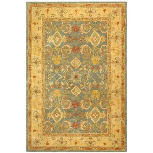 Safavieh Anatolia Collection Handmade Light Blue and Ivory Hand-Spun Wool Area Rug, 6-Feet by 9-Feet
