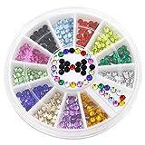 Bluelans® 12 Farben 3mm 3D Glitters Acryl Studs Nagelsticker Schleife