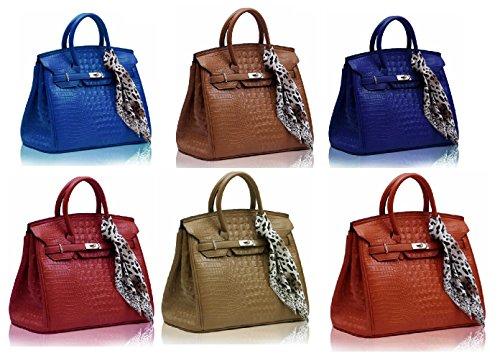 Getthatbag ® da donna Roxy _-Borsa a tracolla, coccodrillo, colore: blu Navy/Rosso/Marrone, Marrone (marrone), L