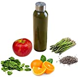 Brieftons Glass Water Bottles: 6 Pack, Large 18 Oz, Stainless Steel Leak-Proof Lid / Cap, Premium Soda Lime, BPA Free, Best Reusable Bottle for Drinking, Water, Juice, Beverage, Sports and Home Use
