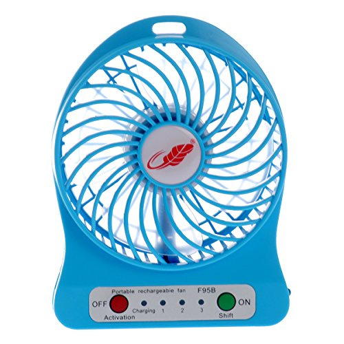 Tinksky F95B Portable Usb Rechargeable 3-Level Speed Adjustable Mini Electric Fan With Led Light (Blue)
